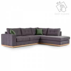 Γωνιακός καναπές αριστερή γωνία ύφασμα ανθρακί-κυπαρισσί 280x225x90εκ