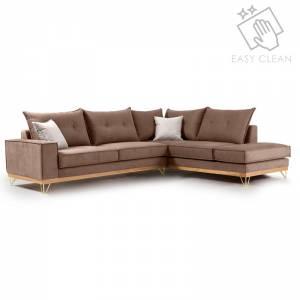 Γωνιακός καναπές αριστερή γωνία ύφασμα mocha-cream 290x235x95εκ