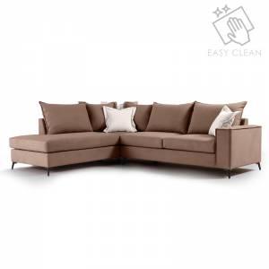 Γωνιακός καναπές δεξιά γωνία ύφασμα mocha-cream 290x235x95εκ
