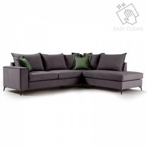 Γωνιακός καναπές αριστερή γωνία ύφασμα ανθρακί-κυπαρισσί 290x235x95εκ