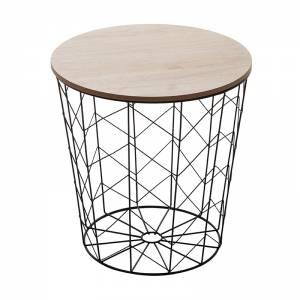 Βοηθητικό τραπέζι σαλονιού oak-μαύρο Φ37.5x37εκ