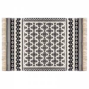Χαλί βαμβάκι μαύρο-λευκό 170x120εκ