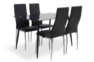 Τραπεζαρία σετ 5τμχ μαύρο γυαλί-κάθισμα μαύρο pu 120x80x75εκ