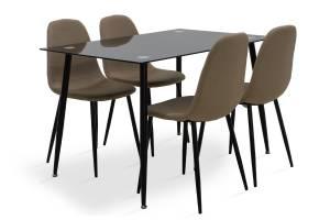 Τραπεζαρία σετ 5τμχ μαύρο γυαλί-κάθισμα μπεζ ύφασμα 120x80x75εκ.