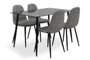 Τραπεζαρία σετ 5τμχ μαύρο γυαλί-κάθισμα antique γκρι pu 120x80x75εκ.