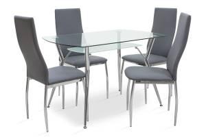 Τραπεζαρία σετ 5τμχ διάφανο γυαλί-κάθισμα γκρι pu 120x75x75,5εκ