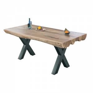 Τραπέζι 200x95x76cm Ακακία Φυσικό/Μεταλ.Μαύρο