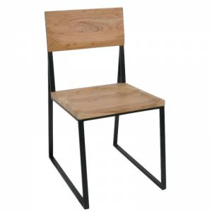 Καρέκλα Tραπεζαρίας Μέταλλο Βαφή Μαύρο / Ξύλο Ακακία Φυσικό