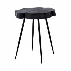Τραπεζάκι Σαλονιού - Καθιστικού / Μέταλλο Μαύρο - Ξύλο Ακακία Μαύρο