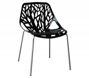 Καρέκλα Tραπεζαρίας Κουζίνας Μέταλλο Χρώμιο / Πολυπροπυλένιο Μαύρο