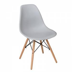 Wood Καρέκλα Τραπεζαρίας Κουζίνας Ξύλο - PP Γκρι