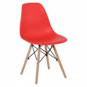 Wood Καρέκλα Τραπεζαρίας Κουζίνας Ξύλο - PP Κόκκινο