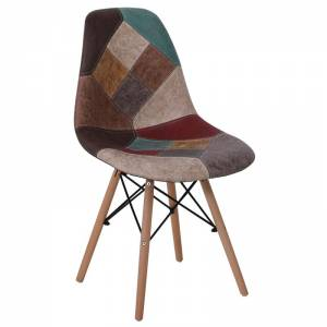 Wood Καρέκλα Ξύλο - PP Ύφασμα Patchwork Καφέ