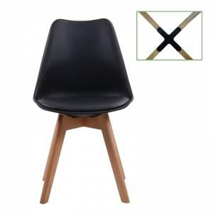 Καρέκλα Metal Cross Ξύλο / PP Μαύρο - Μονταρισμένη Ταπετσαρία