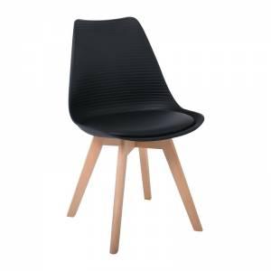 Καρέκλα Ξύλινο Πόδι / PP Μαύρο