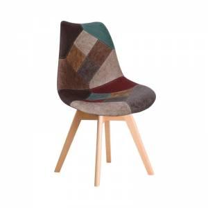 Καρέκλα PP, Ύφασμα Patchwork Καφέ (Ξύλ. πόδι)Μοντ/νη ταπετσαρία