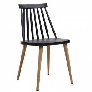 LAVIDA Καρέκλα Μεταλλική Φυσικό, PP Μαύρο