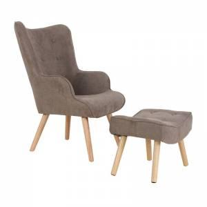 Set : Πολυθρόνα Μπερζέρα + Σκαμπώ Ξύλο Φυσικό / Ύφασμα Ανοιχτό Καφέ