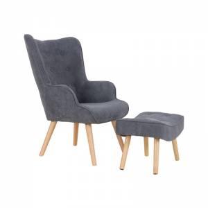 Set : Πολυθρόνα Μπερζέρα + Σκαμπώ Ξύλο Φυσικό / Ύφασμα Σκούρο Γκρι