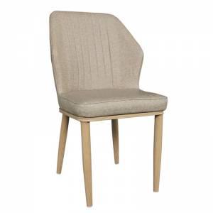 Καρέκλα Μέταλλο Βαφή Φυσικό - Linen PU Μπέζ