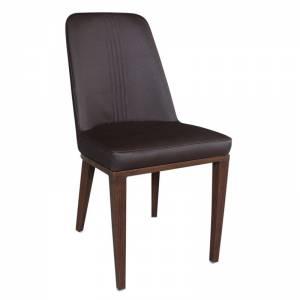 Καρέκλα Μεταλλική Καρυδί/Linen Pu Σκ.Καφέ