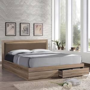 Κρεβάτι-Συρτάρια (για στρώμα 160x200)/Κεφ.Pvc Cappuccino/Sonoma