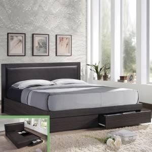 Κρεβάτι-Συρτάρια (για στρώμα 160x200)/Κεφ.Pvc/Zebrano