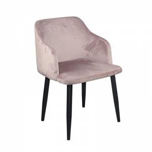 Πολυθρόνα Μέταλλο Βαφή Μαύρο / Ύφασμα Velure Dirty Pink