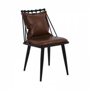 Καρέκλα Μεταλλική Μαύρη/Pu Vintage Brown