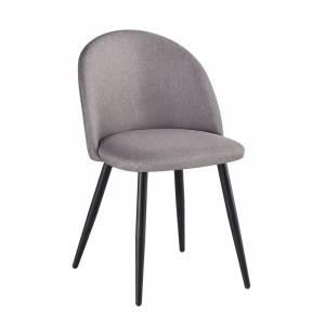 Καρέκλα Τραπεζαρίας Μέταλλο Βαφή Μαύρο - Ύφασμα Sand Grey