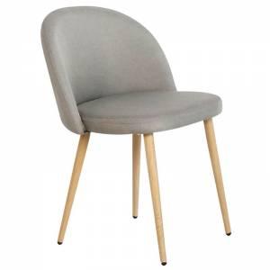 Καρέκλα Τραπεζαρίας Κουζίνας - Μέταλλο Βαφή Φυσικό Ύφασμα Sand Grey