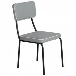 Καρέκλα Τραπεζαρίας Μέταλλο Βαφή Μαύρο / Pu Ανοιχτό Γκρι