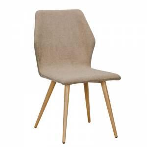 Καρέκλα Μεταλλική Βαφή Φυσικό/Ύφασμα Αν.Καφέ