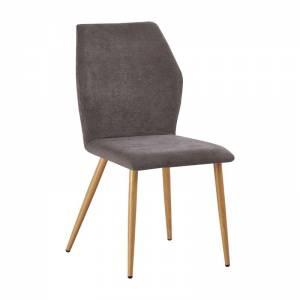 Καρέκλα Τραπεζαρίας Κουζίνας Μέταλλο Βαφή Φυσικό / Ύφασμα Grey Brown