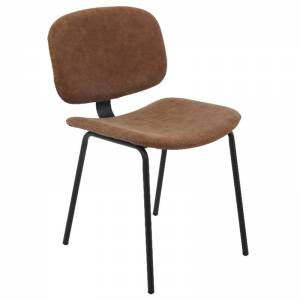 Καρέκλα Μεταλ.Μαύρη/Pu Vintage Brown