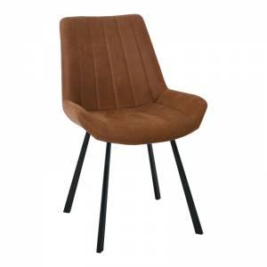 Καρέκλα Tραπεζαρίας Μέταλλο Βαφή Μαύρο / Ύφασμα Suede Καφέ