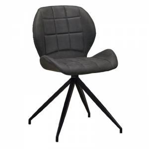 Καρέκλα Τραπεζαρίας Μέταλλο Βαφή Μαύρο / Ύφασμα Suede Ανθρακί