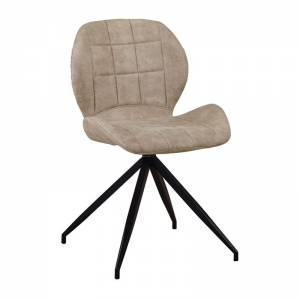 Καρέκλα Μεταλλική Μαύρη/Ύφασμα Suede Μπεζ