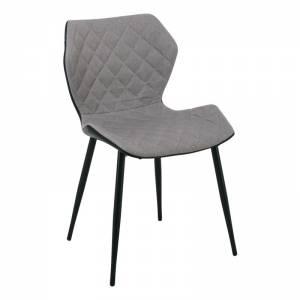 Καρέκλα Tραπεζαρίας Κουζίνας - Μέταλλο Βαφή Μαύρο PU Μαύρο - Ύφασμα Cappuccino