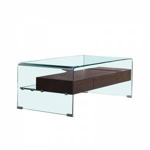 Wood Τραπεζάκι Σαλονιού Γυαλί Clear 12mm Ράφι με Συρτάρι Απόχρωση Καρυδί