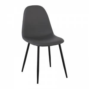 Καρέκλα Μεταλλική Μαύρη, Pvc Γκρι