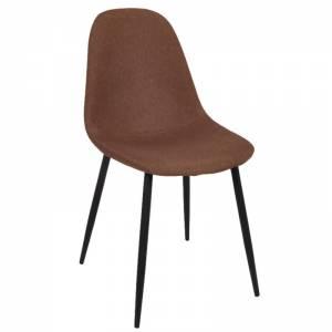 Καρέκλα Μεταλλική Μαύρη, Ύφ.Καφέ
