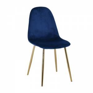 Καρέκλα Μεταλλική Χρυσό, Velure Μπλε