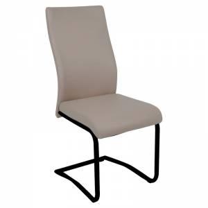 Καρέκλα Μέταλλο Βαφή Μαύρο - Pvc Cappuccino