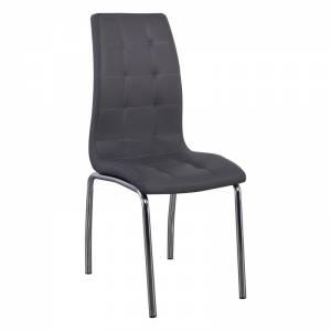 Καρέκλα Tραπεζαρίας Κουζίνας Μέταλλο Βαφή Χρώμιο / PU Γκρι
