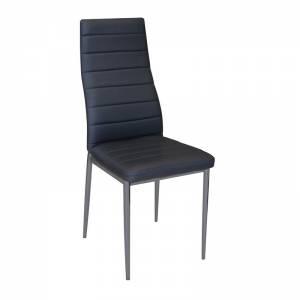 Καρέκλα Pu Μαύρο/Βαφή Γκρι (Συσκ.4)
