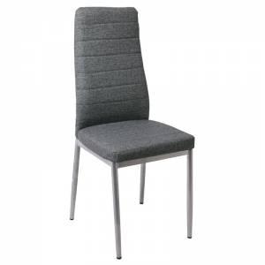 Linen PU Καρέκλα Μετ.Βαφή Γκρι/Pu Ανθρακί (Συσκ.4)