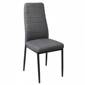 Καρέκλα Τραπεζαρίας Κουζίνας Μέταλλο Βαφή Μαύρο - Linen PU Ανθρακί