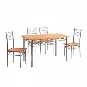 Set (Τραπ.120x70cm+4 Καρέκ) Μεταλ.Silver/Φυσικό