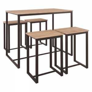 Set Bar (Τραπ.100x60cm+4 Σκ.) Μετ.Σκ.Καφέ/Sonoma